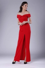 Czerwona Wieczorowa Sukienka Maxi Odsłaniająca Dekolt i Ramiona