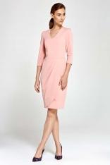 Różowa Sukienka z Asymetrycznym Drapowaniem