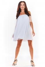 Biała Sukienka Typu Hiszpanka z Siateczką w Groszki