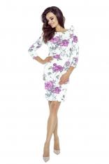 Biała Sukienka w Fioletowe Kwiaty Wiązana na Jednym  Ramieniu
