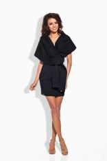 Czarna Szlafrokowa Sukienka Mini z Szerokim Kołnierzem