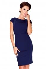 Granatowa Sukienka Elegancka Ołówkowa z Półrękawkiem