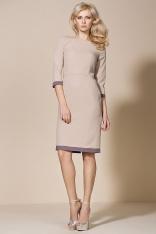 Beżowa Klasyczna Sukienka z Lamówkami