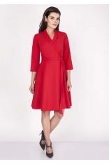 Czerwona Sukienka Rozkloszowana Kopertowa z Paskiem