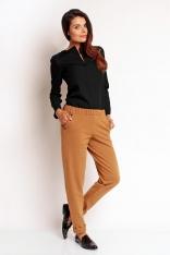 Brązowe Dresowe Spodnie na Gumie z Napami