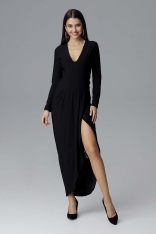 Czarna Wizytowa Długa Sukienka z Asymetrycznym Rozcięciem