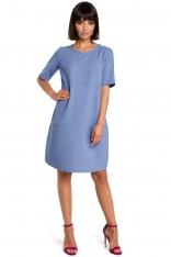 Niebieska Casualowa Sukienka Bombka przed Kolano