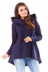 Granatowa Bluza Asymetryczna z Kapturem