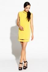 Limonkowa Sukienka Mini z Wycięciami