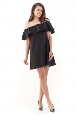 Czarna Wyjściowa Sukienka Mini Typu Hiszpanka