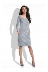 Szara Sukienka Dopasowana z Kieszeniami