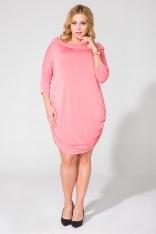 Różowa Dzianinowa Sukienka z Lejącym Golfem Plus Size