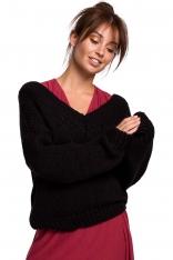 Czarny Klasyczny Sweter z Dekoltem V z Przodu i na Plecach