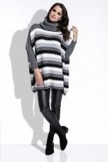 Grafitowy Sweter Oversizowy w Paski z Golfem