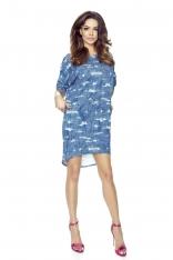 Niebieska Sukienka z Dłuższym Tyłem - Przetarcia