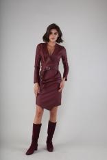 Sukienka z Asymetrycznym Dołem z Eko-skóry - Bordowa