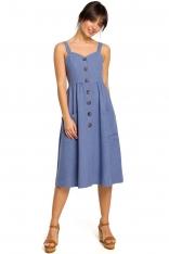 Niebieska Midi Sukienka na Szelkach z Ozdobnymi Guzikami
