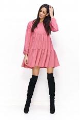 Malinowa Sukienka Luźna Oversizowa Mini na Długi Rękaw