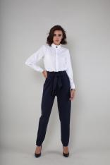 Czarne Eleganckie Spodnie z Wiązanym Paskiem