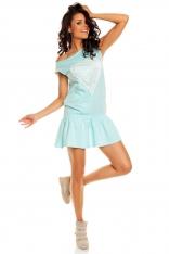 Mini Sukienka z Falbanką i Ażurowym Sercem - Morski