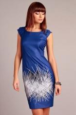 Niebieska Efektowna i Elegancka Sukienka z Abstrakcyjnym Printem