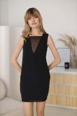 Ołówkowa Sukienka bez Rękawów z Ozdobną Siateczką - Czarna