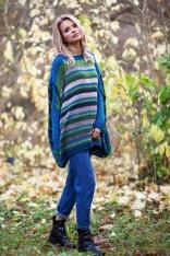 Niebieski Multikolorowy Dłuższy Sweter Oversize