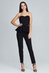 Czarny Elegancki Komplet Gorsetowa Bluzka + Długie Spodnie