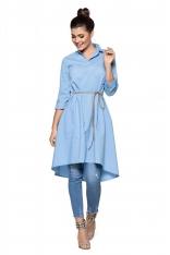 Niebieska Luźna Sukienka Koszulowa z Rzemykiem