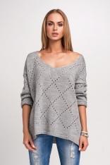 Oversizowy Szary Sweter Ażurowy z Dekoltem V