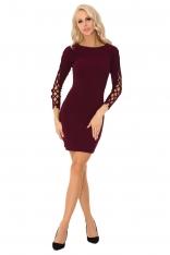 Śliwkowa Ołówkowa Mini Sukienka z Dekoracyjną Aplikacją na Rękawach