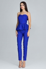Niebieski Elegancki Komplet Gorsetowa Bluzka + Długie Spodnie