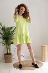 Bawełniana Sukienka z Ukośną Falbanką - Lemon