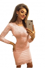Koronkowa Sukienka Bodycon - Brzoskwiniowa