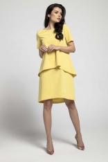 Żółta Trapezowa Sukienka z Asymetryczną Nakładką