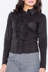 Czarna Kobieca Koszula z Falbankami