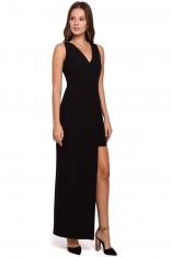 Czarna Asymetryczna Długa Sukienka Wieczorowa