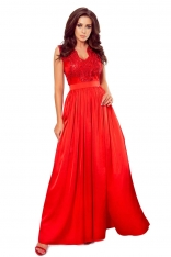 Czerwona Wizytowa Długa Sukienka z Koroną
