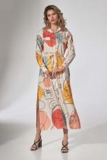 Długa Koszulowa Sukienka z Paskiem - Wzór 123