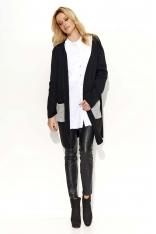 Czarno Szary Sweter-Narzutka z Kontrastowymi Kieszeniami
