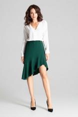 Zielona Asymetryczna Spódnica z Falbanką