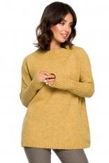 Musztardowy Oversizowy Sweter z Niewielką Stójką