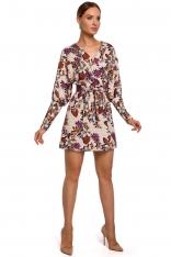 Kopertowa Sukienka z Bufiastym Rękawem we Wzory - Model 2