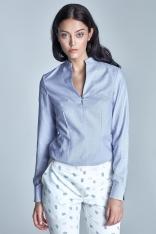 Niebieska Koszulowa Bluzka ze Stojką z Długim Rękawem
