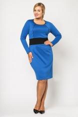 Klasyczna Chabrowa Sukienka z Kontrastowym Panelem PLUS SIZE