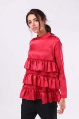 Ciemno Różowa Połyskująca Bluzka na Stójce z Falbankami