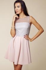 Dwubarwna Rozkloszowana Sukienka z Prześwitującym Karczkiem - Szary&różowy