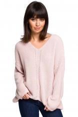 Różowy Oversizowy Sweter w Serek z Asymetrycznym Dołem
