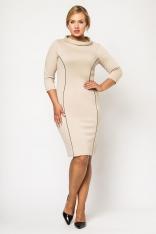 Modelująca Beżowa Sukienka z Kontrastowymi Wypustkami Moda XL