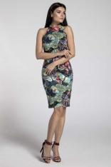 Granatowa Stylowa Sukienka Bodycon z Półgolfem